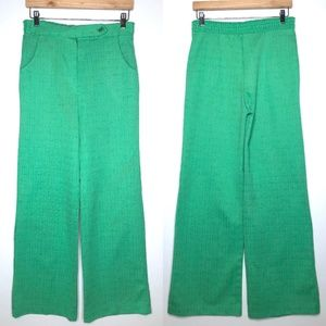 Vintage 70s Green Polyester Wide Leg Flare Pants